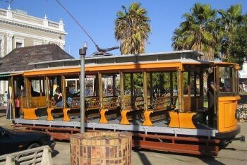 Historical tramway at Market Square in Kimberley, Northern Cape